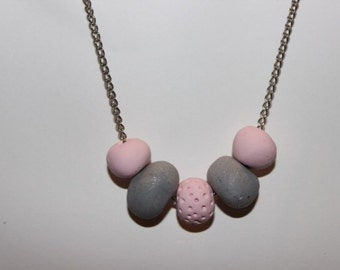 """Clay chain necklace - grey and pink necklace with beads - """"pretty in pink"""""""