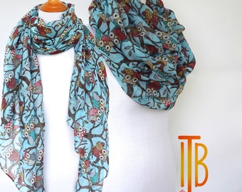 Blue Owl Infinity Scarf / Print Scarf / Shawl Scarves / Fashion Women's Scarf / Bohemian Boho Scarf / Gifts For Her