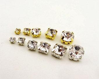 Full Bag 1440/720/144pcs Crystal Glass Clear Sew On Rhinestones Sparkling Beads Silver Gold Rhodium Setting 4/4.5/5/6/6.5/7/7.5/8/10mm