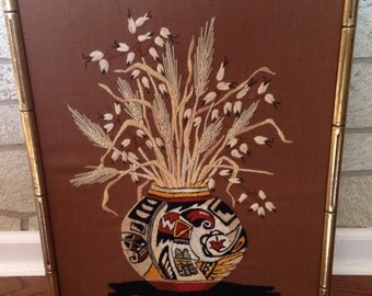 Vintage 1970s Cross Stitch Wall Art VERY GOOD CONDITION