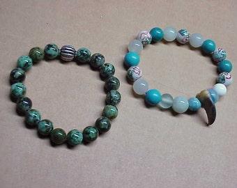 Vintage lot 2 turquoise quarts handpainted beaded bracelets #149