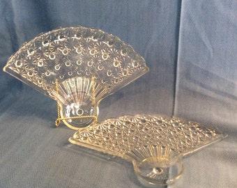 Cut Glass Fan Shaped Dishes, Vintage Fan Shaped Cut Glass Trays