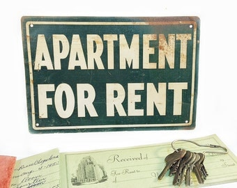 Vintage Metal Sign, Apartment for Rent Sign, Vintage Tin Sign, Rustic Metal SIgn, Collectible Sign