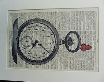 Pocket Watch Print No.333, pocket watch poster, pocket watch art, pocket watch vintage, boyfriend gift, husband gift, dictionary art