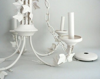 White Painted Tole Chandelier