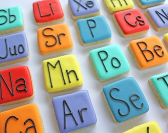 Small Periodic Table Sugar Cookies // Science Cookies // Periodic Table of Elements