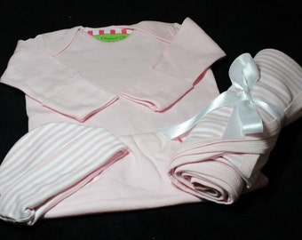 Personalized Baby Girl Cap, Gown,Blanket- Personalized Layette Gown Set,- Baby Pink Infant Gown Set