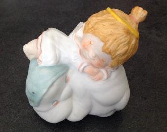 Vintage Angel Cloud Fine Porcelain Figurine God Is Always Near KatyBeth Series Hallmark 1984