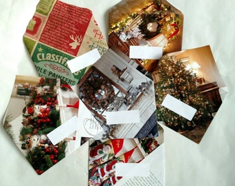 "Set of 6 Christmas Envelopes- Repurposed Magazines for 4.5x5.5"" Cards"