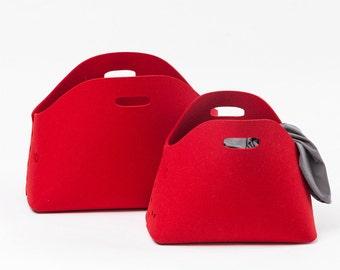 Storage basket | felt basket | felt bin | firewood basket | natural felt | firewood bin | free shipping | red basket | red bin | red felt