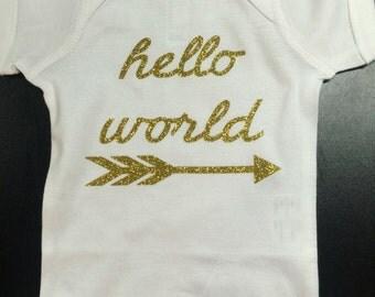 Newborn Bodysuit Onepiece Girls (Hello World)
