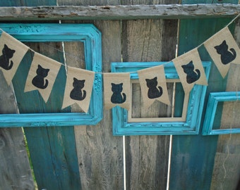 Cat Burlap Banner Garland