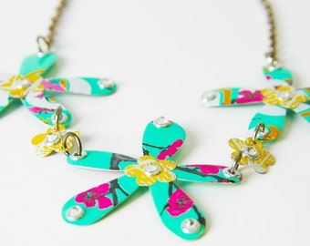 Upcycled Aluminum Can Triple Flower Necklace