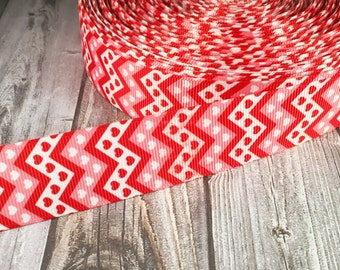 Valentine ribbon - Hearts ribbon - Red white ribbon - Chevron ribbon - DIY valentine bow - Valentine crafts - Crafting supplies - 1""