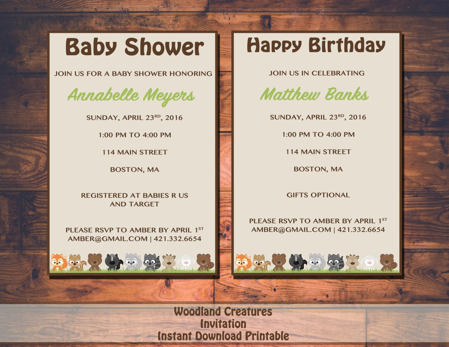 woodland creature baby shower or birthday invitation