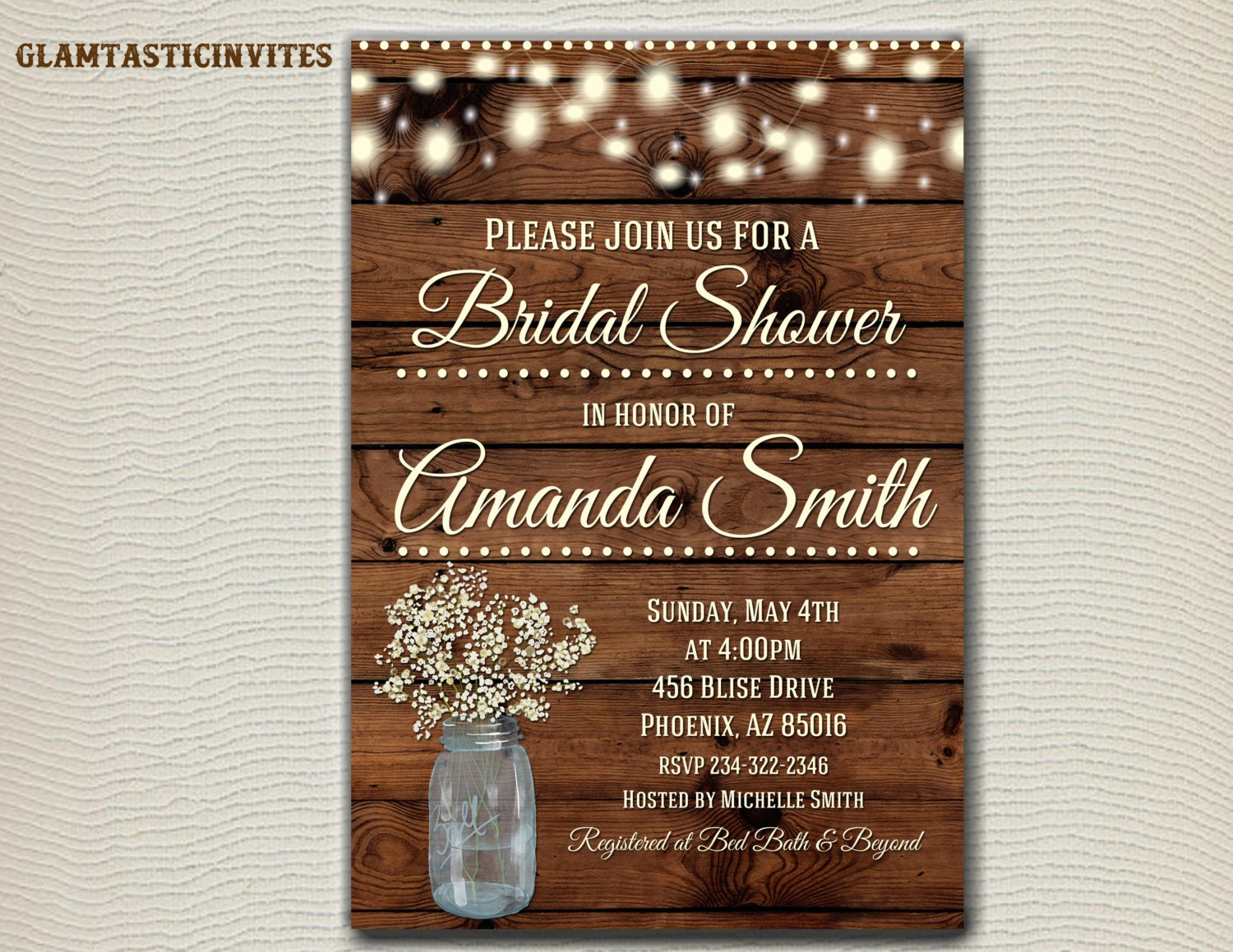 rustic bridal shower invitation rustic by glamtasticinvites
