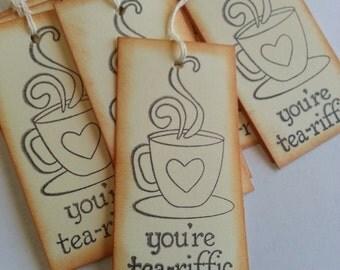 Tea tags, Tea cup favor tags, Tea cup gift tags, Tea party favors, Set of 12