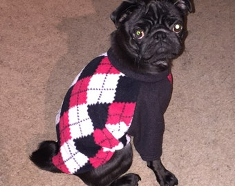Argyle Print Fleece Dog Top