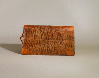 Vintage Cognac Colored Lizzard Leather Bag, Shoulderbag, Shoulderpurse