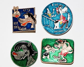 Collectible Badge Nu Pogodi Children's Stories Russian Set of 4 Badges Cartoon Vintage Animation Pin Cartoon Badge Rare Soviet Pin Gift
