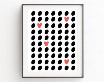 Love Heart Print Art | Heart Wall Art Decor | Gallery Wall Decor