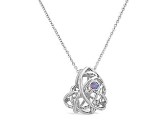 Midnight Dream Heart Cage Pendant in Silver - Unique Heart Necklace Pendant  with Opal Accent - 925 Sterling Silver Necklace Pendant