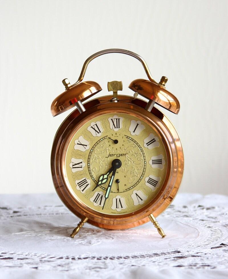 Vintage German Alarm Clock Copper twin bell by VintageCorner42