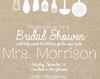Burlap Kitchen Bridal Shower Invitation and Recipe and Thank You Cards