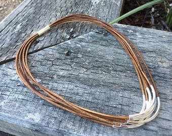 Brown Leather Necklace with Silver Tube Beads