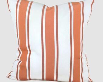 Sunbrella Pillow, Throw Pillow Rust Orange Indoor Outdoor Nantucket Stripe Cushion Cover Decorative Coastal Pillows Lumbar Accent Pillow