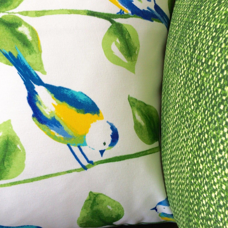 Outdoor Throw Pillows Birds : Pillow Cover Blue Bird Pillow Reversible Indoor Outdoor Throw
