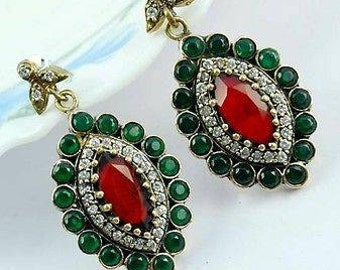 Genuine emerald ruby sterling silver earing