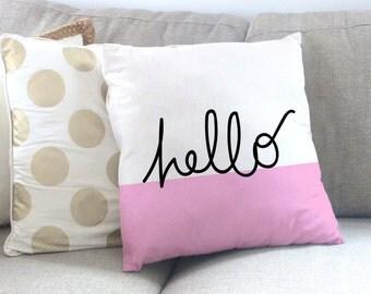Pink and White Hello Pillow - Hello Throw Pillow - Pink and white pillow - Hello Typography pillow - Girly Pillows - Girly Home Decor
