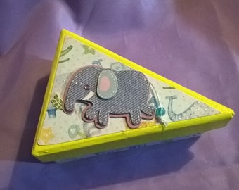yellow triangular box,with animal print paper on the sides and a 3d elephant on the lid,pretty gift box for a child,new baby or trinket box