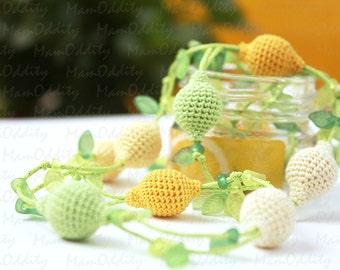 Lemonade Yellow necklace Crochet jewelry Lemon ice Crochet necklace Nature fresh Mint leaves Citrus fruits Green necklace Fruit jewelry
