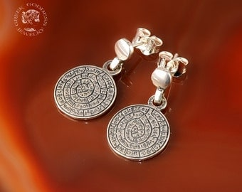 Phaistos Disc silver earrings, antique earrings, Phaistos Disc, Phaistos Disc earrings, greek earrings, ancient earrings, greek jewelry