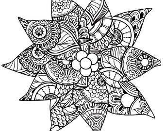 christmas coloring page for adults poinsettia coloring page holiday coloring instant download - Christmas Coloring Pages For Adults