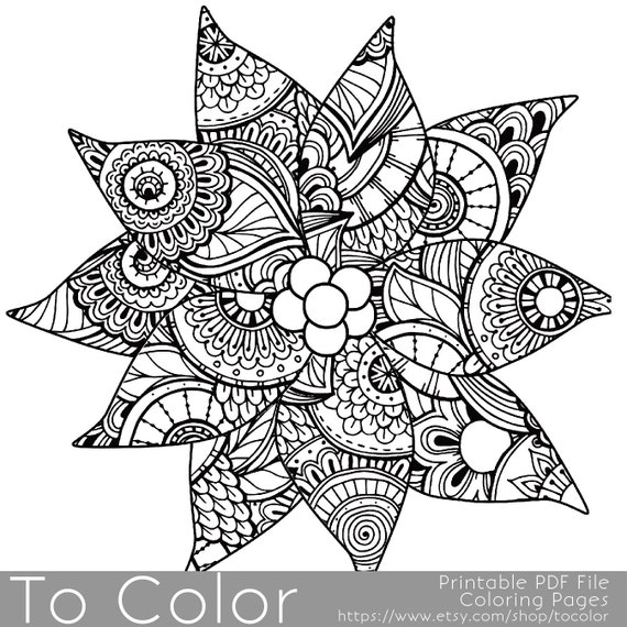 christmas coloring page for adults poinsettia coloring page holiday coloring instant download gift idea stocking stuffer pdf jpg - Christmas Coloring Pages For Adults