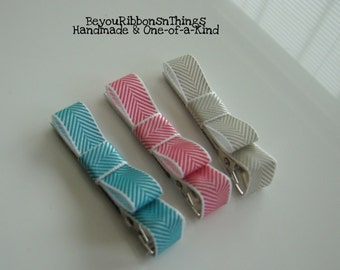 Blue Pink Gray Hair Clips for Girls Toddler Barrette Kids Hair Accessories Satin Ribbon No Slip Grip