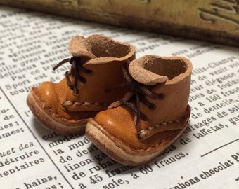 Real leather: miniature short boots [CAMEL] (for Blythe)