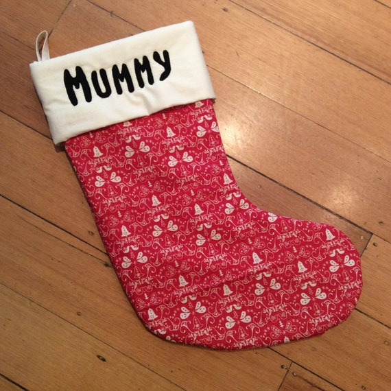 Personalised, Quality Padded and Lined, 55cm Long, Calico & Red Festive Bell Christmas Stockings