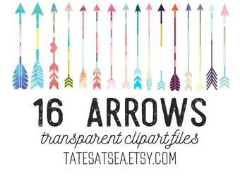 16 Colorful Clipart Arrows (Transparent Background)