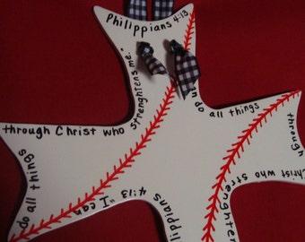 Curvy Wooden Baseball/Softball Cross with Scripture of Philippians 4:13
