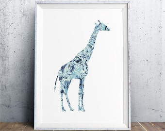 Giraffe Print, Giraffe Art, Tiffany Blue Print, Animal Art, Animal Print, Giraffe Decor, Giraffe Gift, Zoo Animal Print, Nursery Printable