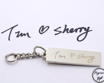Bar Shape Keyring Charms Personlized Actual Handwriting, Real Hand Signature , Drawing Replica, Text Laser Engrave, international Shipping