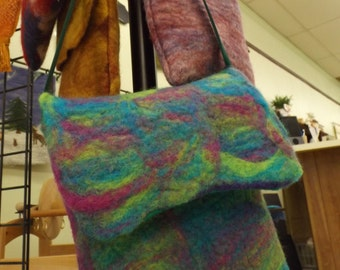 100% Wool Wet Felted Handbag