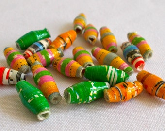African Dodo Recycled Paper Beads 1cm 20 pack - Fair Trade from Mzuribeads Uganda