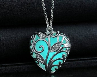 Light Blue Glowing Heart Necklace Kit - Glowing Jewelry - Glowing Pendant - Heart Glow Necklace - Glow in the Dark - Gifts for He