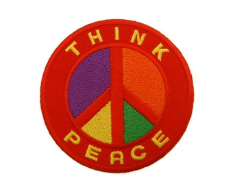 Think Peace - Peace Sign Applique Embroidered Iron On Patch