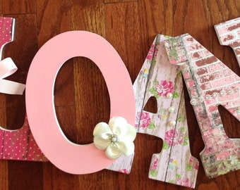 Letters for nursery, Vintage pink wall letters, Custom wooden letters, Pink girl's room decor